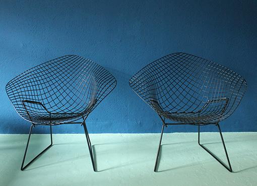 Zwei Bertoia Diamond Sessel