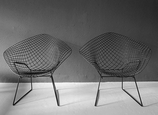 Zwei Bertoia Diamond Sessel