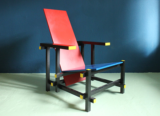 rot blauer stuhl von g rietveld designbutik. Black Bedroom Furniture Sets. Home Design Ideas