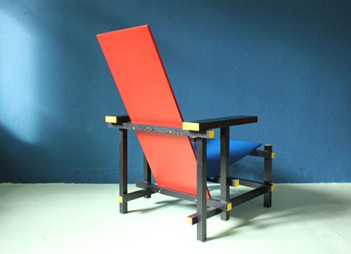 Rot blauer stuhl von g rietveld designbutik for Design stuhl nachbau