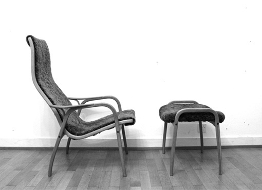 Lamino-Sessel mit Fusshocker