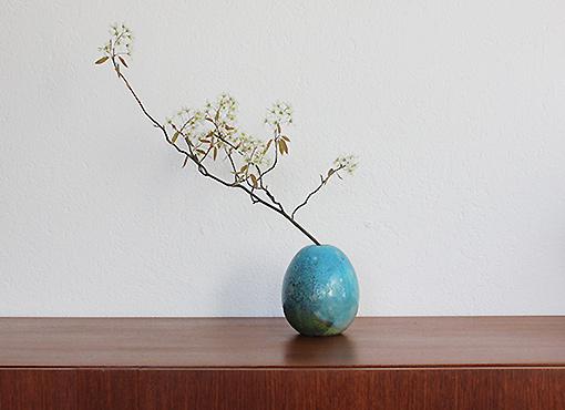 Blaue Raku Vase