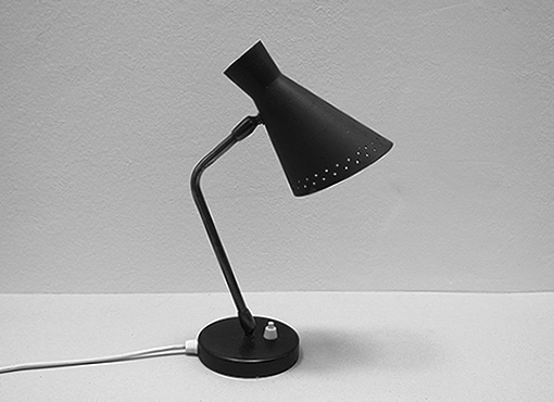 Schwarze Tischlampe aus den 1950er Jahren